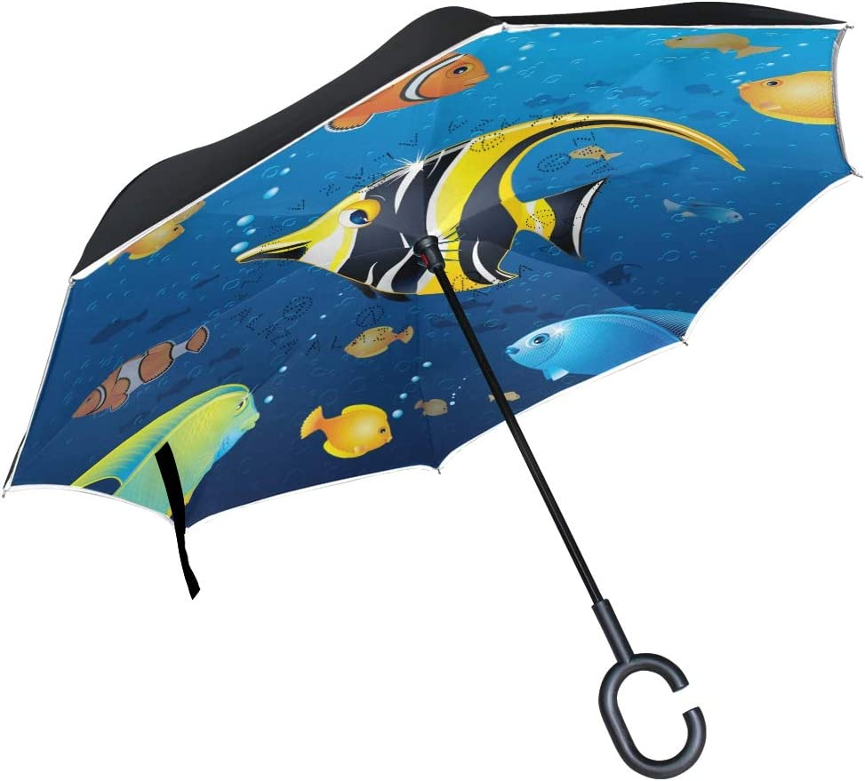 Colorful Tropical Fishes Rainproof and Windproof UV Protection Double Layer Folding Inverted Umbrella with C-Shaped Handle Reverse Umbrellas For Car Rain Outdoor