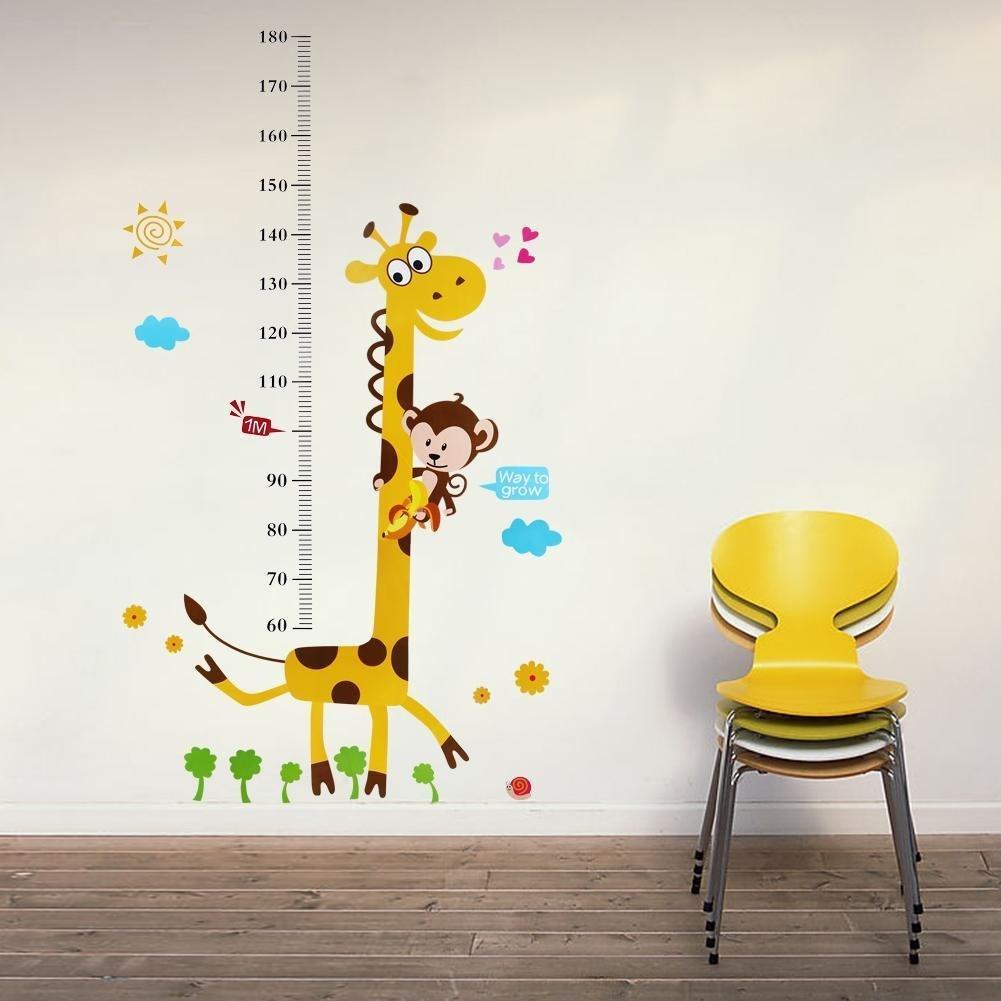 Singe descalade sur Girafe Hauteur croissance de mesure Tableau Sticker mural enfants Sticker mural: Amazon.es: Bebé