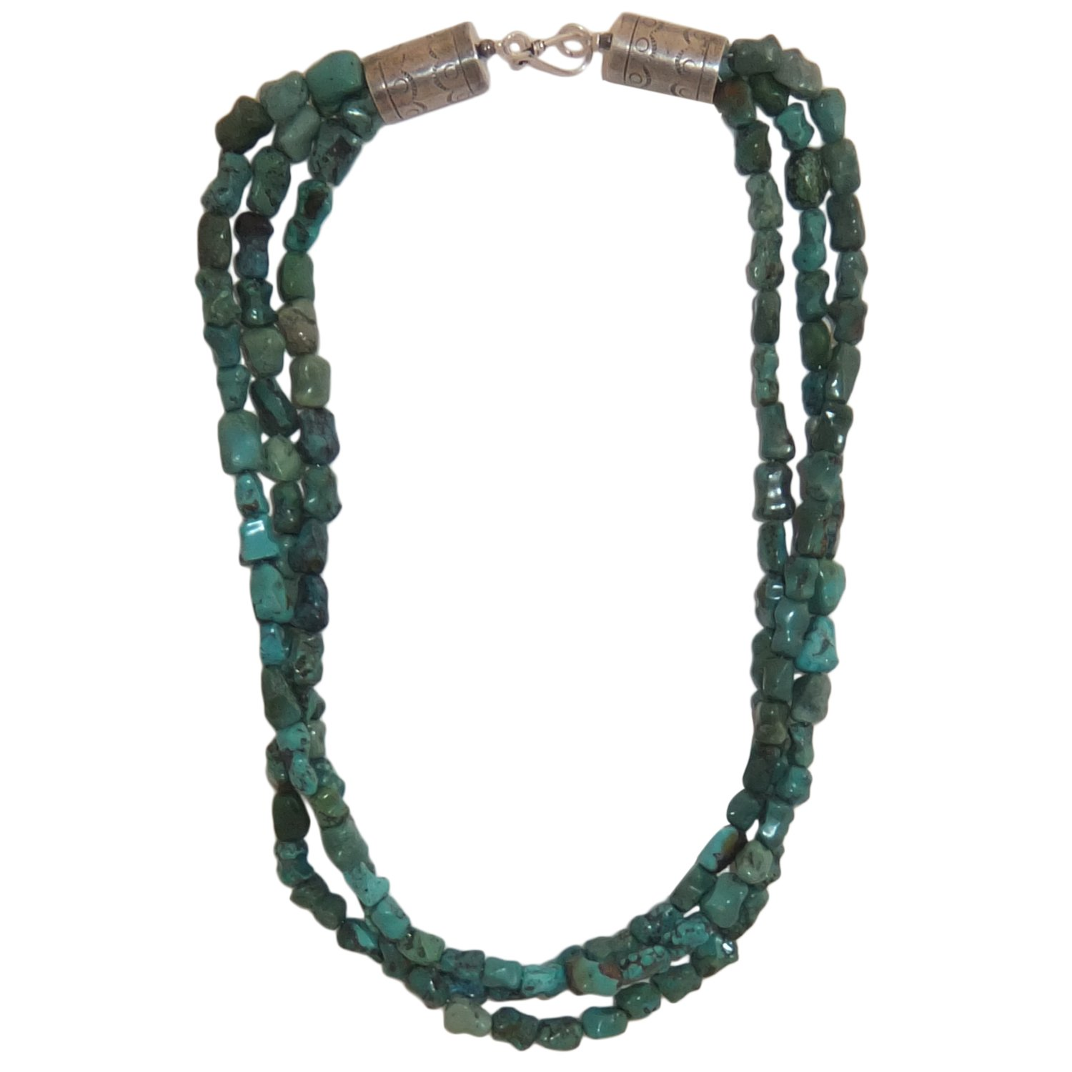 Sterling Silver Necklace Bone Turquoise, Made in USA - Exclusive Southwestern Handmade Jewelry, 3 Strand 20'' in Length Wedding Gift - Ship Within 24 Hours