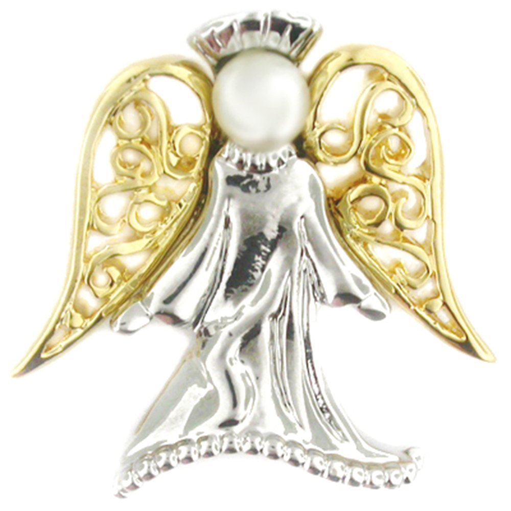 PinMart's Angel with Pearl Religious Spiritual Jewelry Brooch Style Lapel Pin 1''