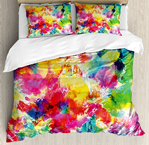 Ambesonne Pastel Duvet Cover Set, Oil Painting Style Abstract Watercolors Brushstrokes Mottled Messy Vibrant Print, Decorative 3 Piece Bedding Set with 2 Pillow Shams, Queen Size, Yellow Magenta