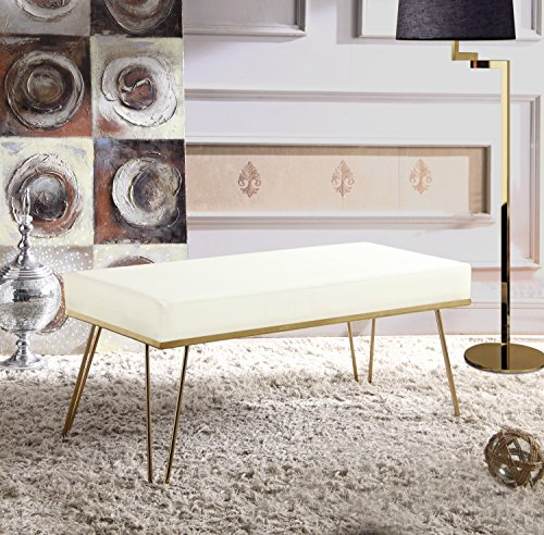 Iconic Home FBH2977-AN Bench PU Leather Upholstered Brass Finished Frame Hairpin Legs, Cream (Brass Bench)