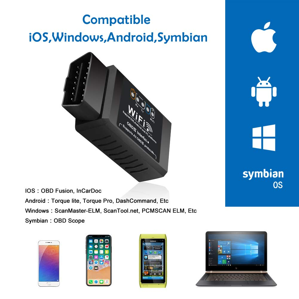 Windows BAOHUI OBD2 Diagnoseger/ät WiFi OBD2 Adapter ELM327 Auto Diagnoseger/ät OBDII Stecker Mehr als 3000 Code Datenbanken Android Auto Diagnose Scanner F/ür IOS Symbian