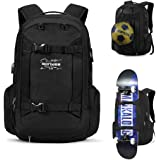 Skateboard Backpack Basketball Baseball Football Rugby Ball Soccer Ball Multi-function Water Resistant Backpack With USB Port Basketball Net Fits 17.3 Inch Laptop(Black)