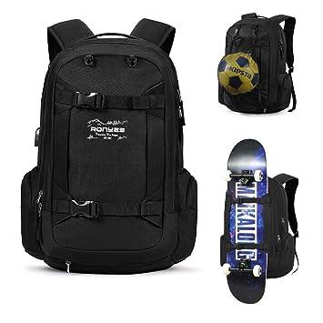 Skateboard Mochila Rugby Balón de fútbol Baloncesto béisbol balón de fútbol multifunción mochila con puerto USB red de baloncesto para portátil (17,3): ...