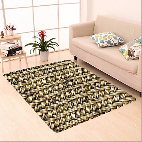 Nalahome Custom carpet ract Rattan Basket Weave Pattern Natural Boho Country Style Geometric Monochrome Art Design Gold area rugs for Living Dining Room Bedroom Hallway Office Carpet (24