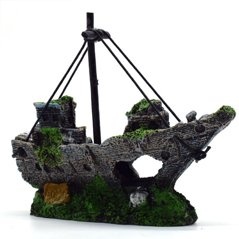 ... Fishing Shipwreck Boat Aquarium Ornament Hiding Cave Aquarium Sailing Boat Plastic Landscape Decoration Plant for Fish Tank Accessories(14x5.5x12cm)