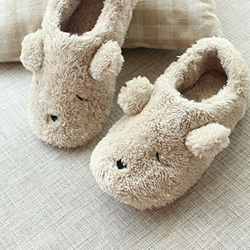 Hosaire 1x Plüsch Baumwoll Hausschuhe Slippers Home Plüsch Hausschuhe Winter Warm Indoor Pantoffeln Baumwolle Slippers für Damen Weiss-l