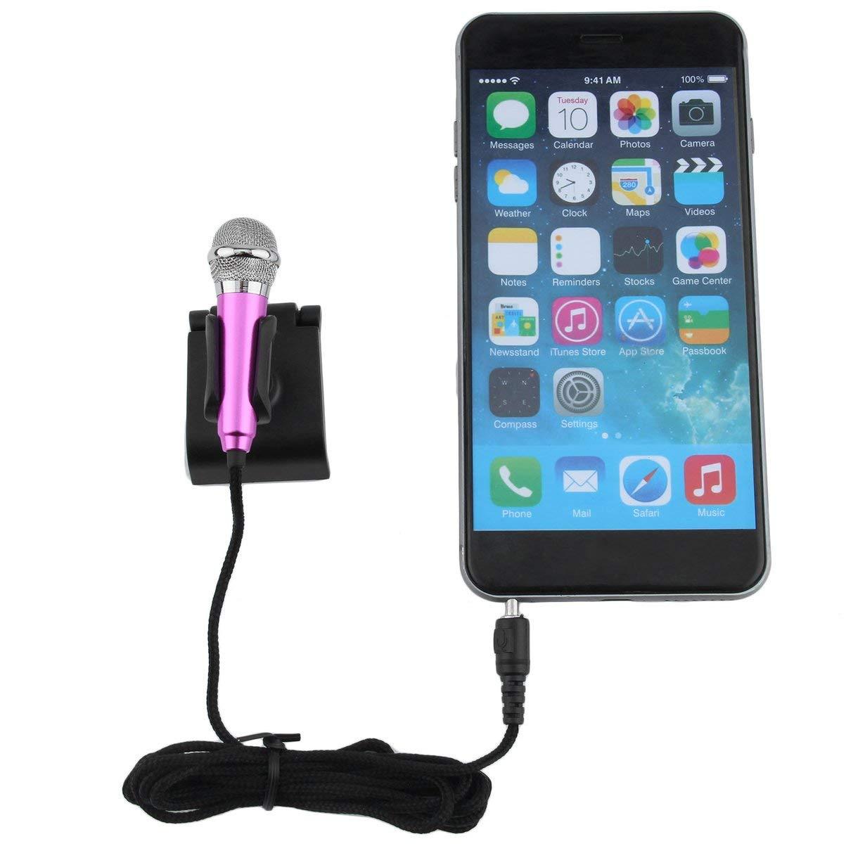Mini aleaci/ón de aluminio port/átil 3.5mm con cable micr/ófono para tel/éfono m/óvil Tablet PC port/átil Speech Sing Karaoke para iPhone