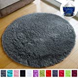PAGISOFE Ultra Soft Round Area Rugs for Princess Prince Castle Play Tent 41' Diameter Circle Rugs for Kids Bedroom Baby Room Small Shag Circular Play Room Carpets and Nursery Rugs (Grey)