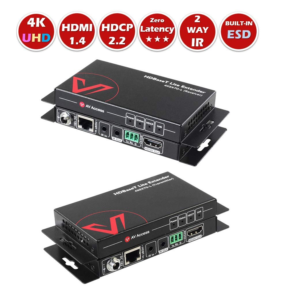 AV Access HDMI Extender(HDBaseT), Uncompressed 4K 60Hz Over Single Cat5e/6a, 70m(230ft) 1080P,40m(130ft) 4K, PoE+IR+RS232+HDCP2.2, HDR & Dobly Vision, Dolby Atmos & DTS:X, CEC by AV Access