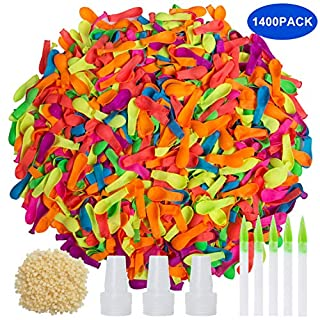 Trooer 1400 Pack Water Balloons Refill Kits Latex Multicolor Water Balloon Self Sealing Balloons Summer Splash Fun Outdoor Backyard Kids and Adults Party Water Balloons Bomb Easy Quick Filling