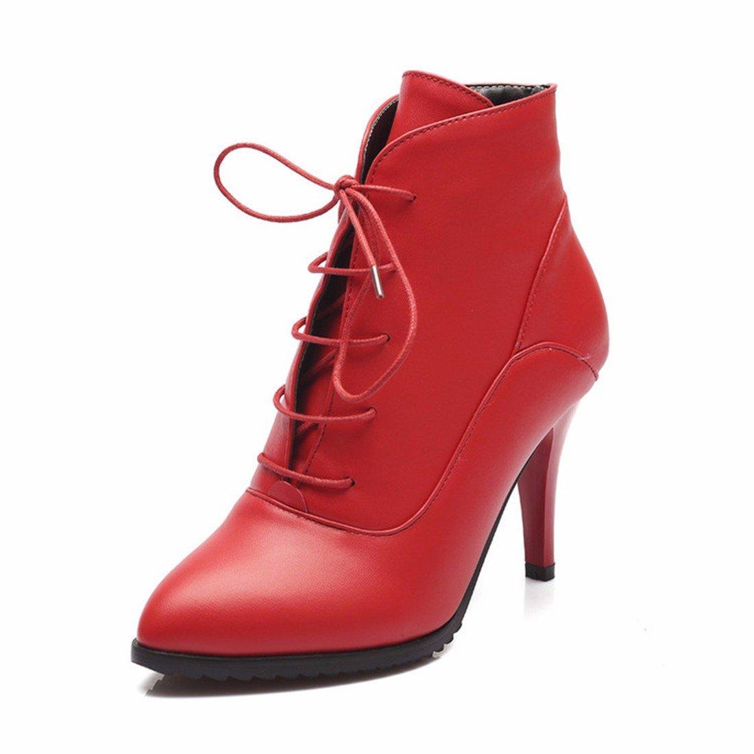 AIKAKA Frauen Herbst und Winter Europa und Amerika Sexy warme High Heel Schuhe Kurze Stiefel Martin Stiefel