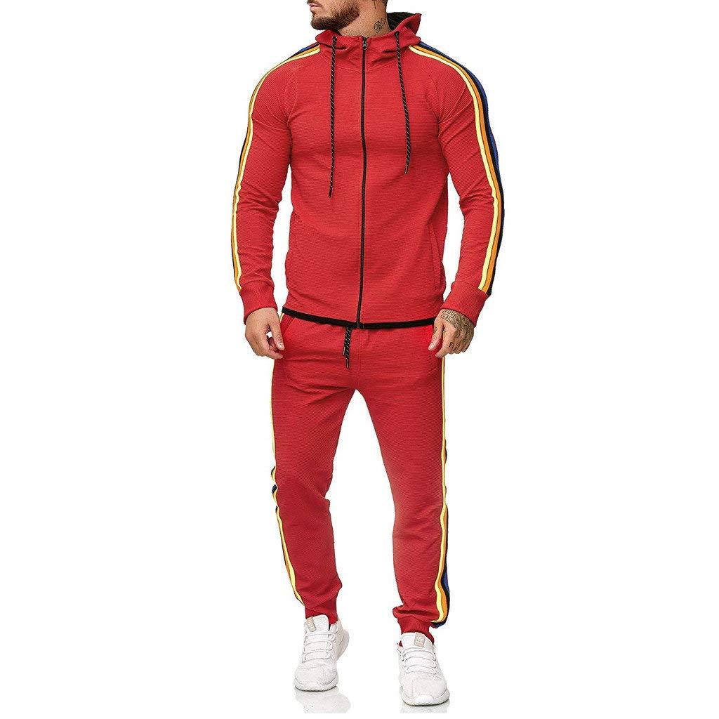 DondPO Mens Tracksuit Set Gradient Zipper Print Sweatshirt Top Pants Jogger Sweatpants Warm Sports Suit Red by DondPO