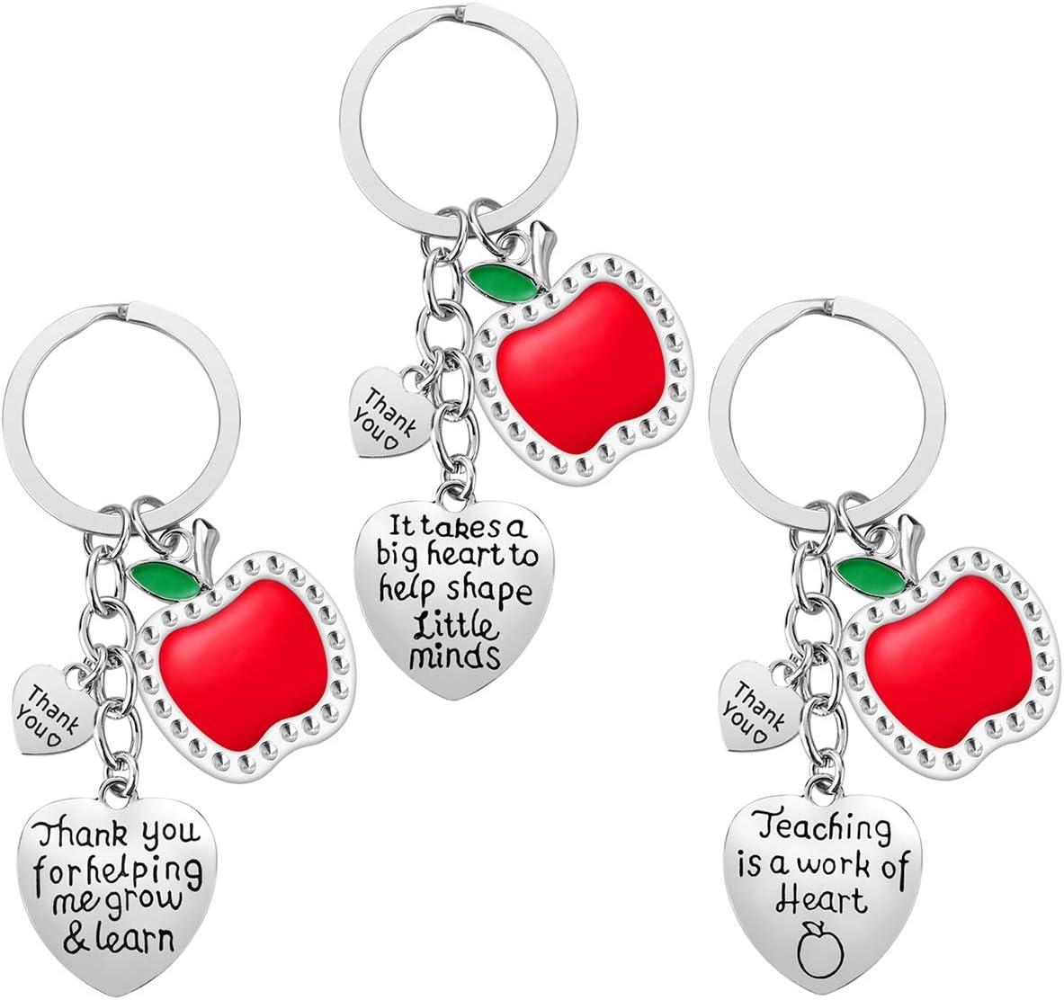 Teacher Appreciation Gift for Women, 3pcs Heart Pendant Teacher Keychain Set, Jewelry Gift for Teachers, Birthday Gift for Teacher Valentines Gifts