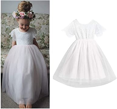Baby Girls Princess Dress Lace Tulle Party Bridesmaid Dresses Photography Props