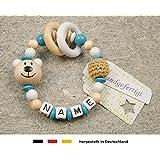 Baby Greifling Beißring geschlossen mit Namen | individuelles Holz Lernspielzeug als Geschenk zur Geburt & Taufe | Mädchen & Jungen Motiv Bär in weiss türkis