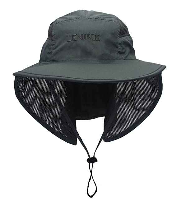 461a7779ad084b Lenikis Unisex Outdoor Activities UV Protecting Sun Hats with Neck Flap  Black Grey