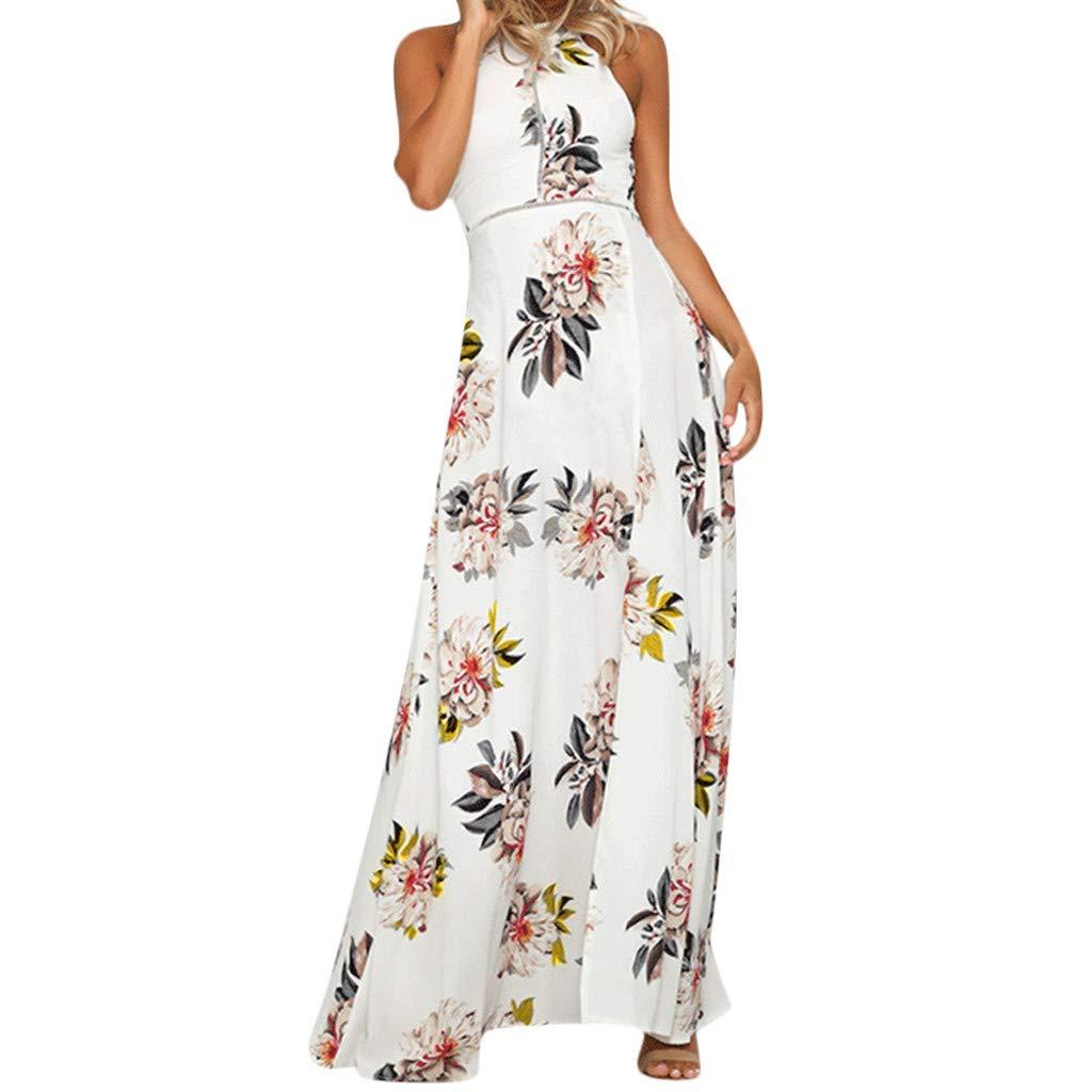 Sunday Damen Sommerkleid Lange Strandkleid Rückenfrei Maxikleid Ärmellos Partykleid Elegant Slim Kleid Boho Blumen kleid