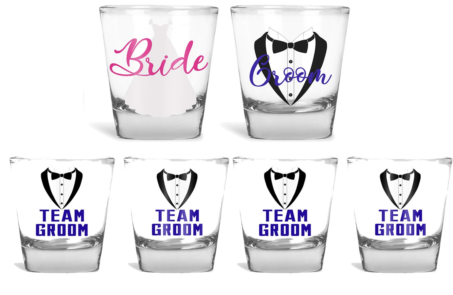 Wedding Shot Glasses - Bride and Groom Shot Glass - Groom Drinking Team Bachelor Party Wedding 2 oz (6 Pack) by AW Fashions