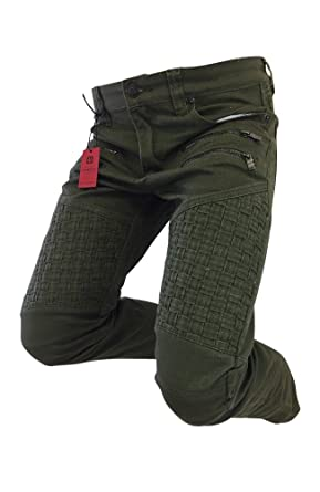 96ce8804 Men's Victorious Jeans Straight Leg Olive Green Weaved Leg Biker Design  DL1043 (32X30)