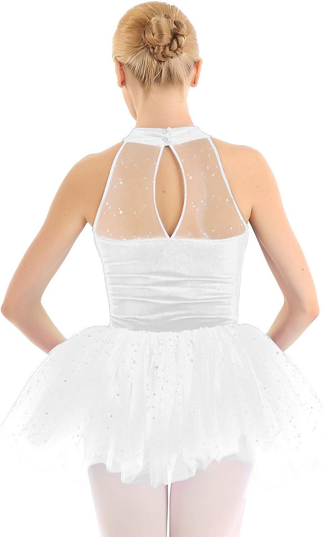 CHICTRY Womens Sequined Turtleneck Figure Ice Skating Leotard Ballet Tutu Dress Dance Wear Costumes White X-Large