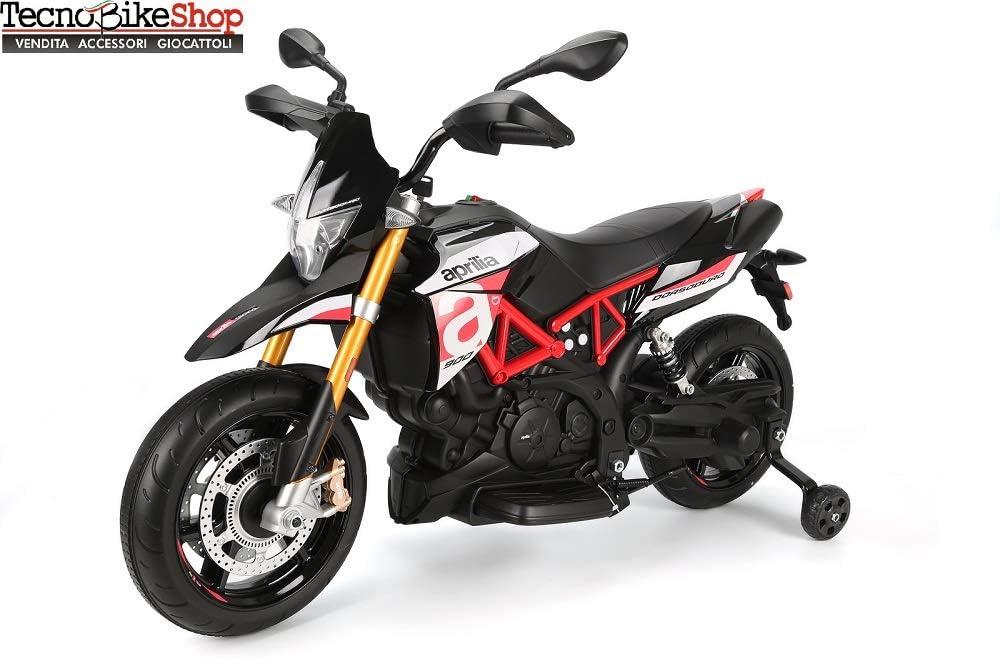 Tecnobike Shop Moto Elettrica per Bambini Motocicletta Piaggio Aprilia Racing Dorsoduro 12V Luci Suoni LED Ruote in Gomma Eva (Rosso)
