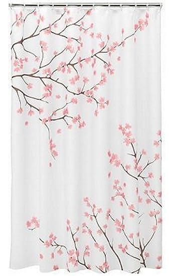 Nice Home Classics Cherry Blossom Fabric Shower Curtain, Pink, 70u0026quot; ...