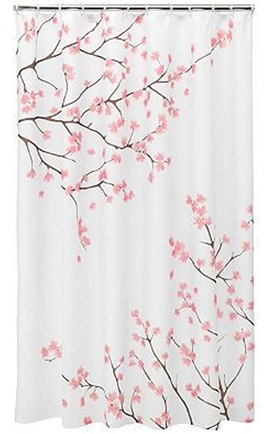 Amazon.com: Home Classics Cherry Blossom Fabric Shower Curtain ...