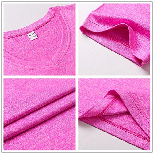 SANKE Camiseta básica de cuello en V para mujer Verano de peso ligero Running Sports Tops XS-XL Azul