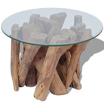 Vidaxl Teak Treibholz Massivholz Couchtisch Beistelltisch Mit