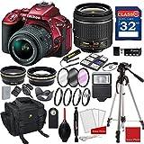Nikon D5500 (Red) DX-format Digital SLR w/AF-P DX NIKKOR 18-55mm f/3.5-5.6G VR Lens + 3pc Filter Kit + Professional Accessory Bundle