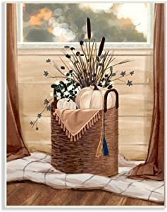 Stupell Industries Autumn Basket Seasonal Home Painting Wall Plaque, 13 x 19, Design by Artist Ziwei Li