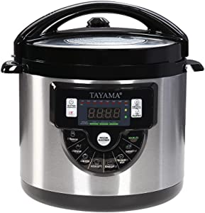 Tayama TMC-60XL 6 Quart 8 in 1 Multi Function Pressure Cooker, 6 Qt, Black