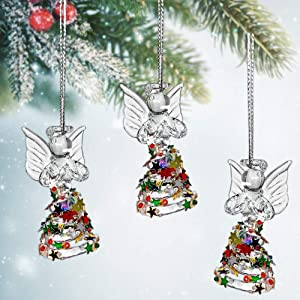 BANBERRY DESIGNS Angel Ornaments - Set of 3 Spun Glass Angels with Confetti Glitter Dresses - Glass Christmas Ornament Sets - Angel Figurines