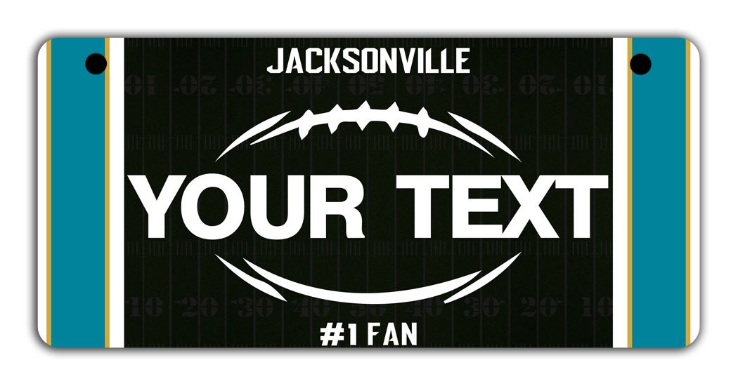 BRGiftShop Personalize Your Own Football Team Jacksonville Bicycle Bike Stroller Childrens Toy Car 3x6 License Plate Tag
