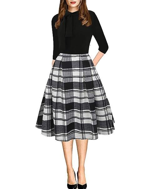 75631d9dacadd Drimmaks Women's Winter Long Sleeve Tie Neck Vintage Black Plaid Contrast Casual  Swing Dress (DM021