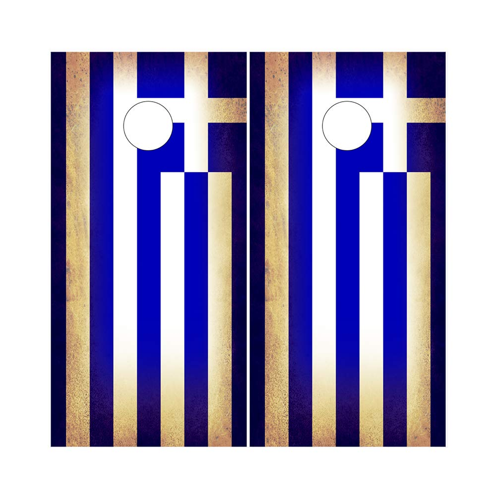 Decals N Designs Rustic Greece Greek Flag White Blue Laminated Country Cornhole Board Wraps ~ Set of 2 by Decals N Designs