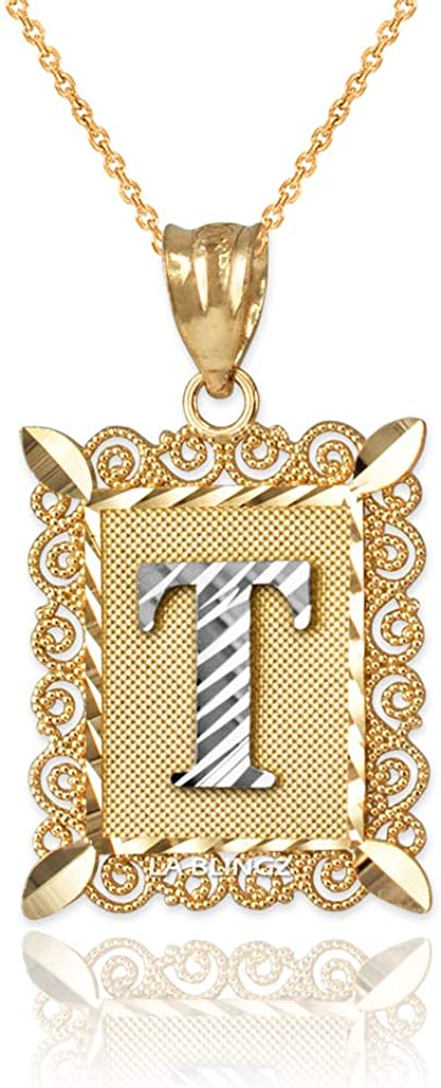 LA BLINGZ 14K Yellow Gold Filigree Alphabet Initial Letter T DC Pendant Necklace