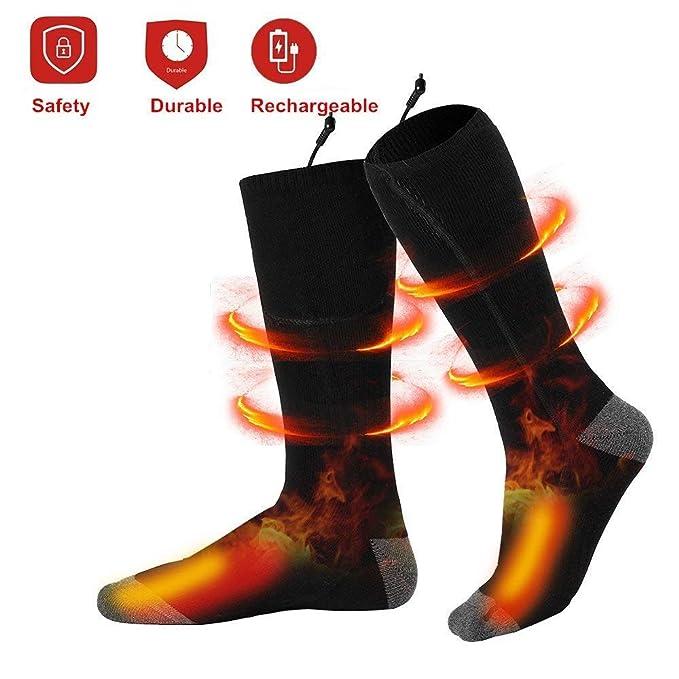 Calcetines calentados eléctricos recargables de calienta-calcetines cómodos con pilas, calcetines termales del tiempo