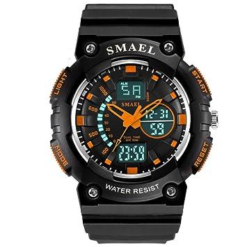 SNHWARE Reloj electrónico Resistente al Agua Reloj Despertador Luminoso Reloj Deportivo al Aire Libre Mesa Redonda Pantalla Negra Dial Digital Plus Puntero ...