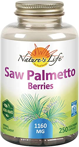 Nature s Life Saw Palmetto Berries 1160 mg Healthy Prostate, Urination Frequency Hair Health Support Non-GMO 250 Vegetarian Capsules