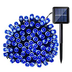 Qedertek Solar String Light, 33ft 100 LED 8 Modes Light Sensor Control Waterproof Decorative Ambiance Light For Patio, Lawn, Garden, Fence, Balcony, Party, Holiday, Christmas Decorations(Blue)