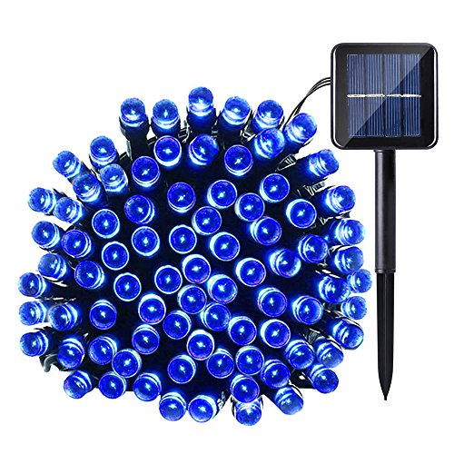 100 Blue Solar Powered Led Outdoor String Fairy Lights - 2