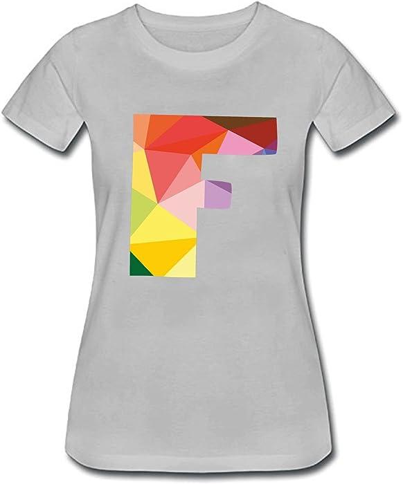0f6a9116d0644 Women s Fashion Short Sleeve Tops Casual T Shirt Crew Neck Tshirts Alphabet  F tee Grey