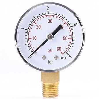 Oumefar 1//4 NPT Thread Super mini size Pressure Gauge Double Scale METAL Interface Water Pressure Meter Measuring Hydraulic Tool for Fuel Air Oil 0-60psi//0-4bar