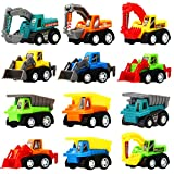Toys : Funcorn Toys Pull Back Car, 12 Pcs Mini Truck Toy Kit Set, Play Construction Engineering Vehicle Educational Preschool for Children Boys Party Favors, Kids Birthday Game Gift Playset Classroom Reward