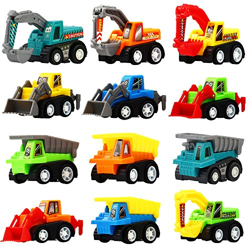 Pull Back Car, 12 Pcs Mini Truck Toy Kit Set, Funcorn Toys Play Construction Engineering Vehicle Educational Preschool for Children Boys Party Favors, Kids Birthday Game Gift Playset Classroom Reward - Mini Pull