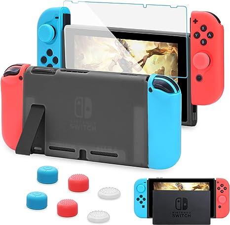 HEYSTOP Carcasa Nintendo Switch, Funda Nintendo Switch con Protector de Pantalla para Nintendo Switch Console y Joy Cons con 6 Agarres para el Pulgar(Negro): Amazon.es: Electrónica