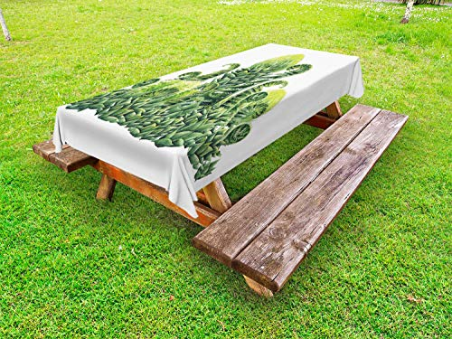 Lunarable Green and White Outdoor Tablecloth, Watercolor Prehistoric Plants with Curling Leaves Herbarium, Decorative Washable Picnic Table Cloth, 58 X 120 Inches, Green Pale Green White